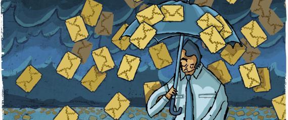 Email falling around businessman with cursor and umbrella